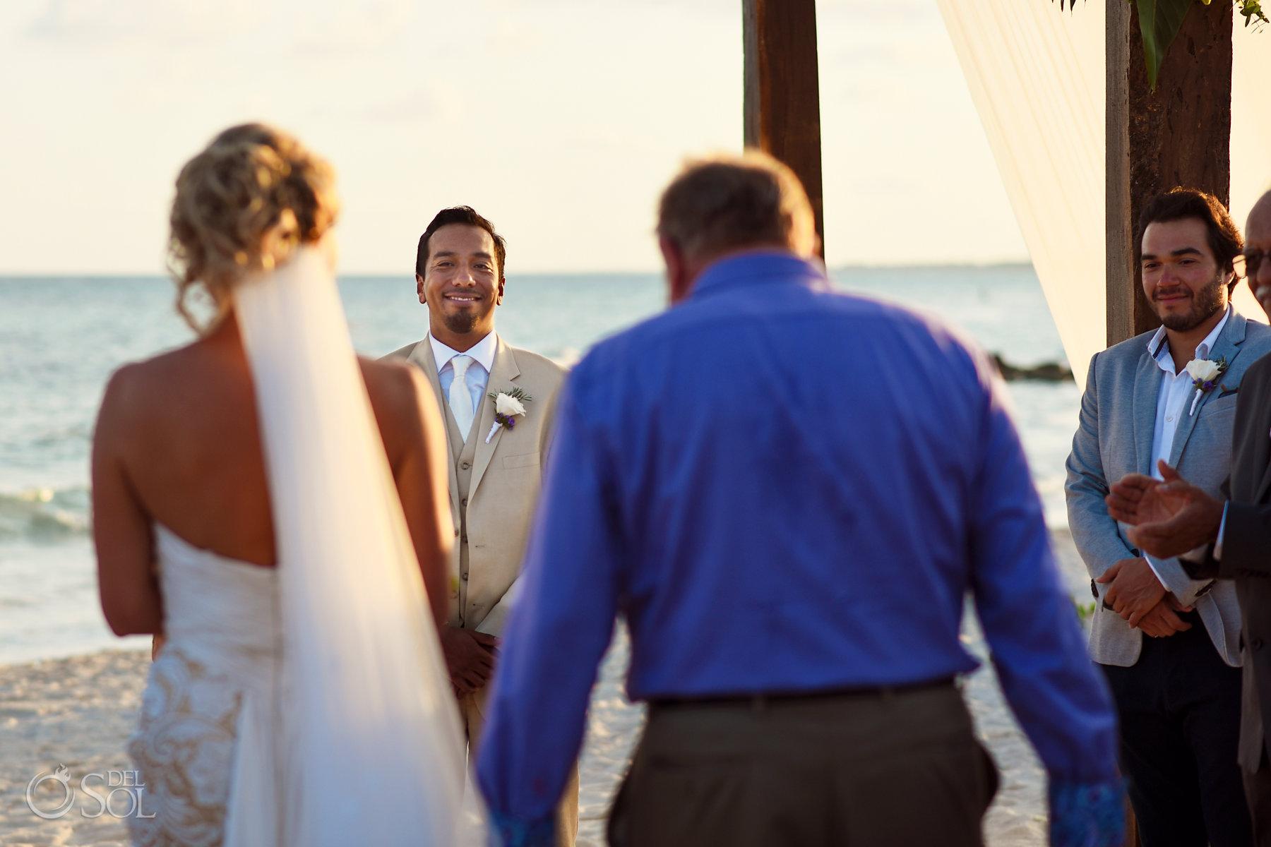 First look Dreams Tulum beach Wedding