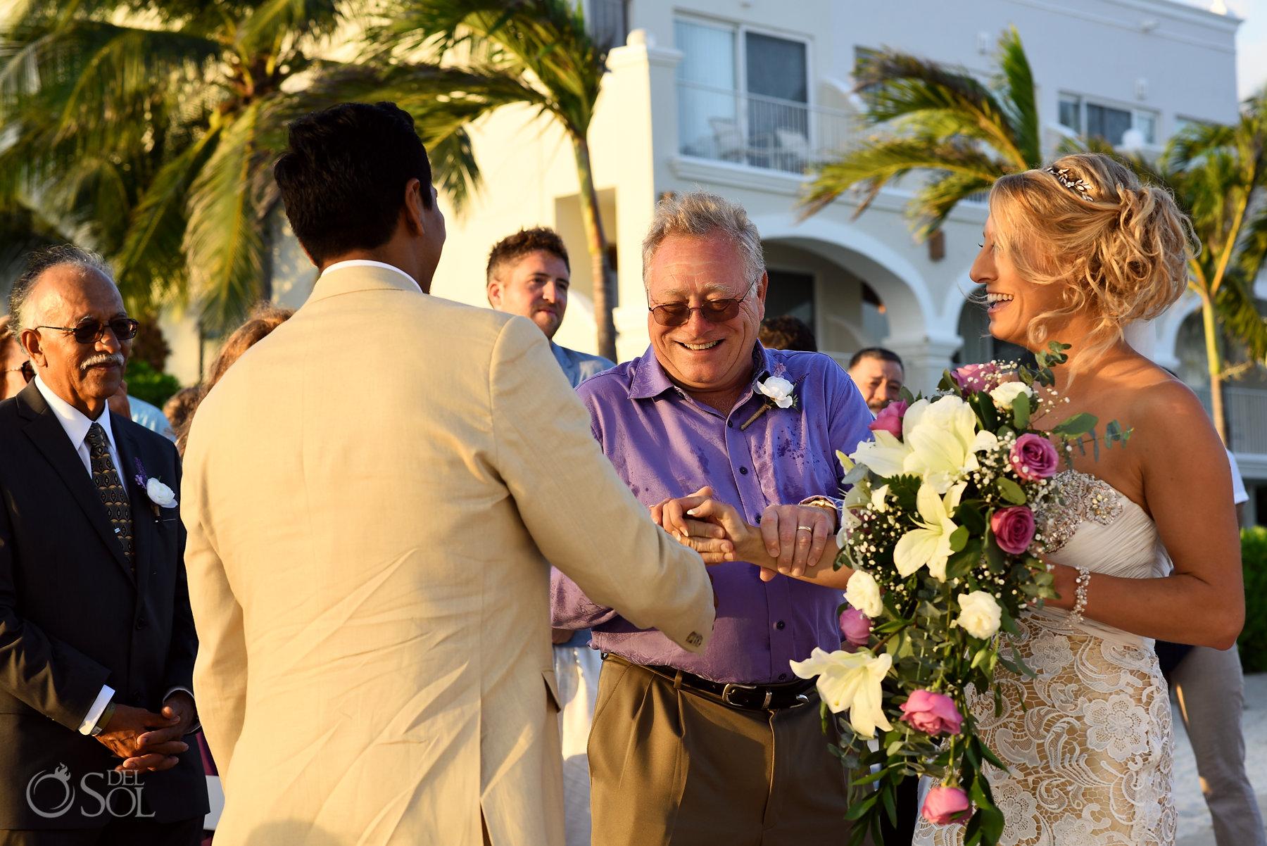 FOB giving bride away Dreams Tulum Sunset Wedding
