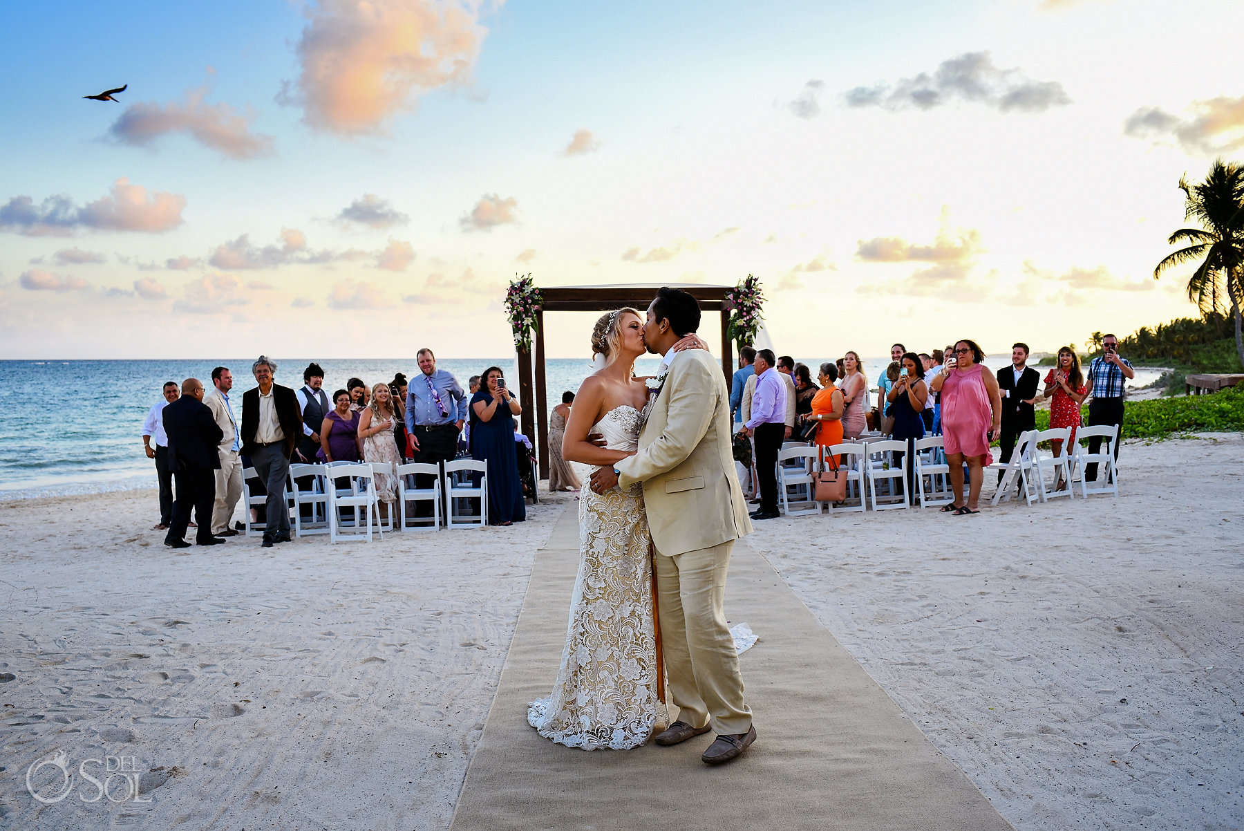 ceremony exit Dreams Sunset Wedding Tulum
