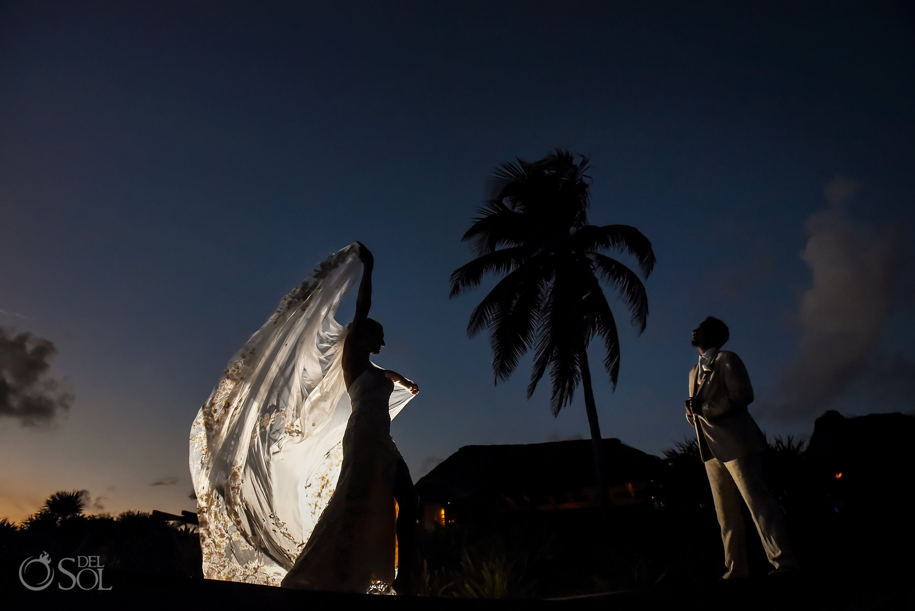 Bridal portrait with veil Dreams Tulum Sunset Wedding