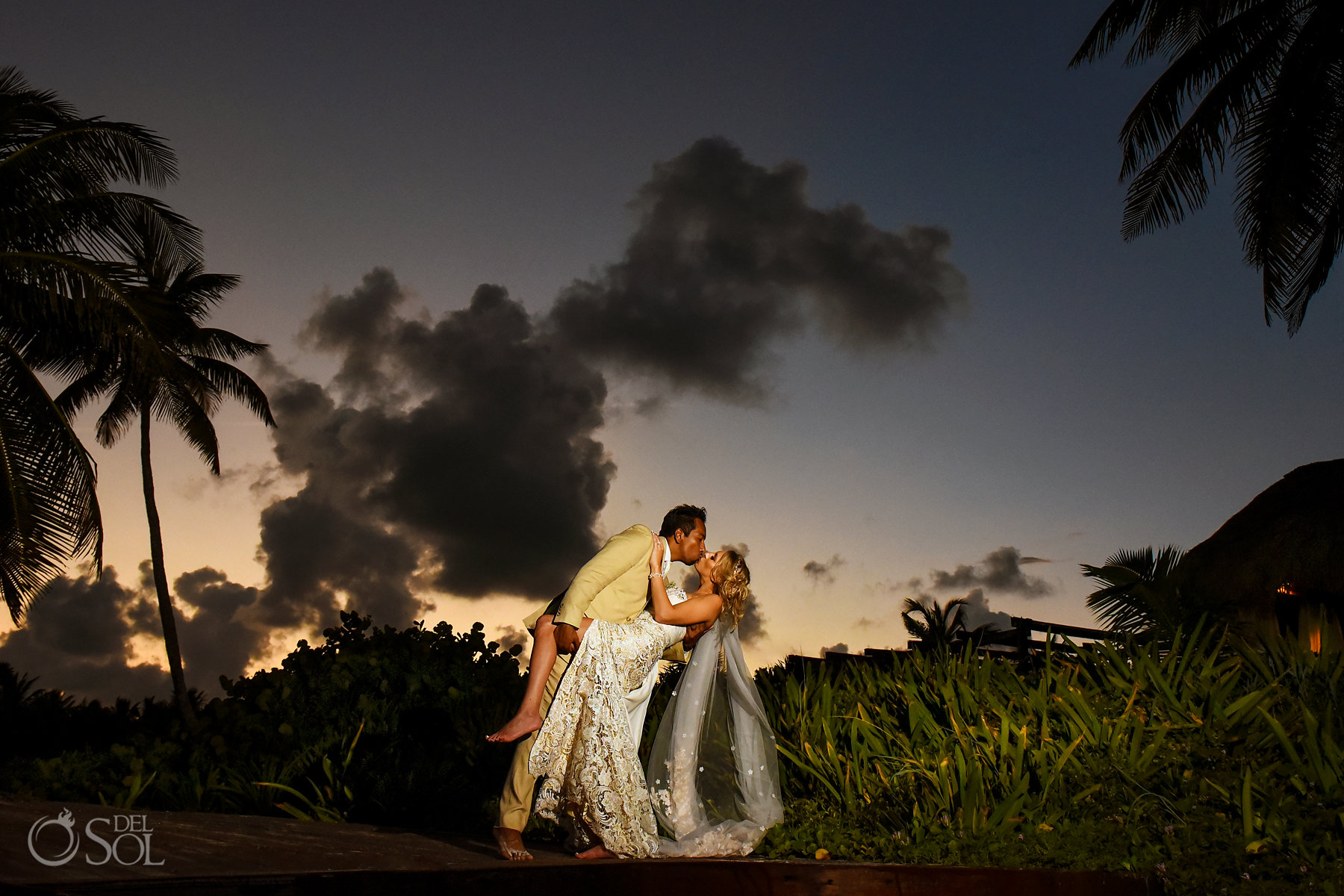 Dreams Tulum Sunset Wedding silhouette