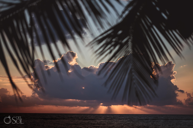 Dramatic Sunrise Beach Pink Sky Wedding Day Akumal Bay Elopement