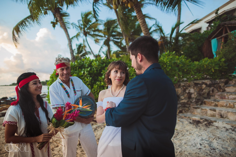 Mayan Wedding Ceremony Red Threads Exchange Documentary Moment Akumal Sunrise Villa Elopement