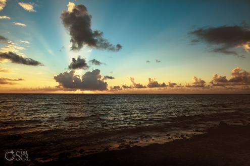 Dramatic Sunrise Beach Sky Wedding Day Akumal Bay Elopement