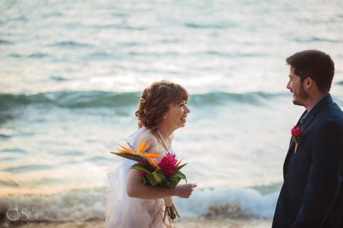 Genuine Lovely Wedding Ceremony Mayan Beach Front Akumal Private Villa Sunrise Elopement