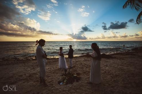 Awe-inspiring Sunrise Photoshoot Mayan Wedding Ceremony Akumal Private Beachfront Villa Elopement
