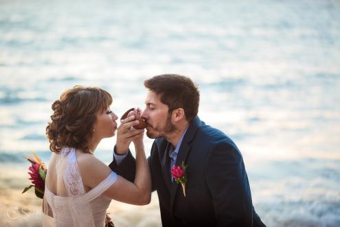 First Newlyweds Toast Mayan Wedding Ceremony Akumal Bay Elopement