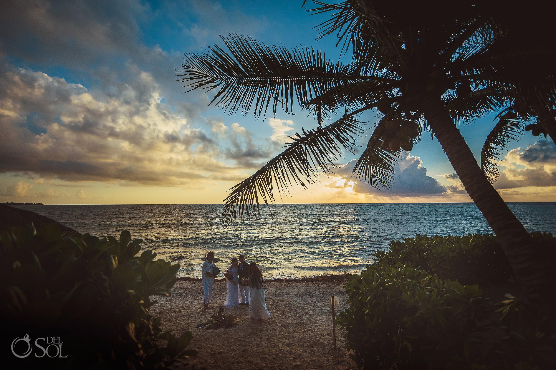 Sunrise Mayan Wedding Ceremony Akumal Private Beachfront Villa Elopement