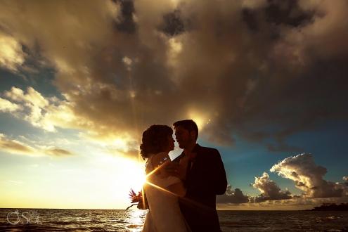 Golden Silhouette Portrait Bride Groom Tropical Sunrise Beachfront Akumal Private Villa Wedding