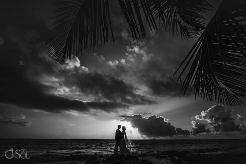 Black White Silhouette Portrait Bride Groom Tropical Sunrise Beachfront Akumal Private Villa Elopement