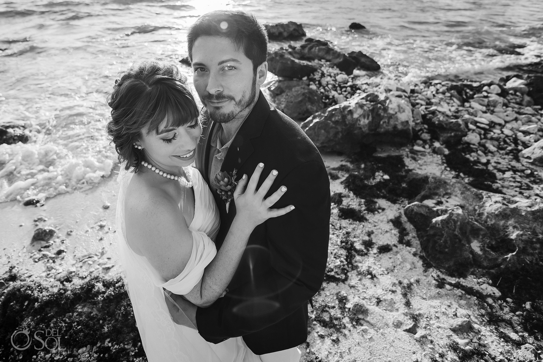 Black White Tender Just Married Couple Sunrise Flirty Light Akumal bay elopement