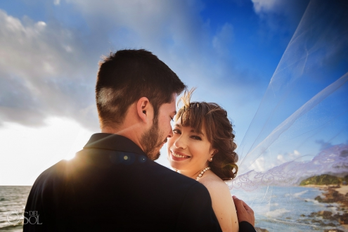Aesthetically Pleasing Sunlight Merging Romantic Bride Groom Style Akumal Private Villa Wedding