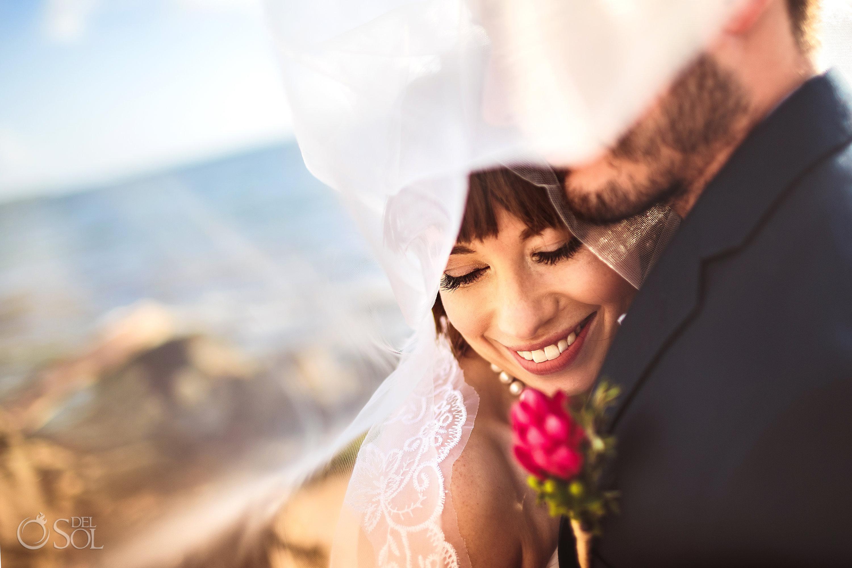 Tender In love Bride Long Tule Veil Portrait Akumal Sunrise Villa Elopement