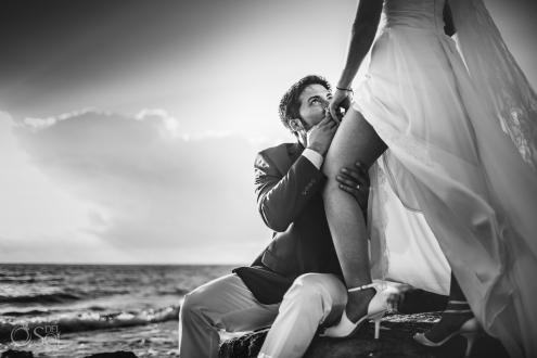 Black White Portrait Passioned Newlyweds Vintage Bridal Shoes Akumal Bay Elopement