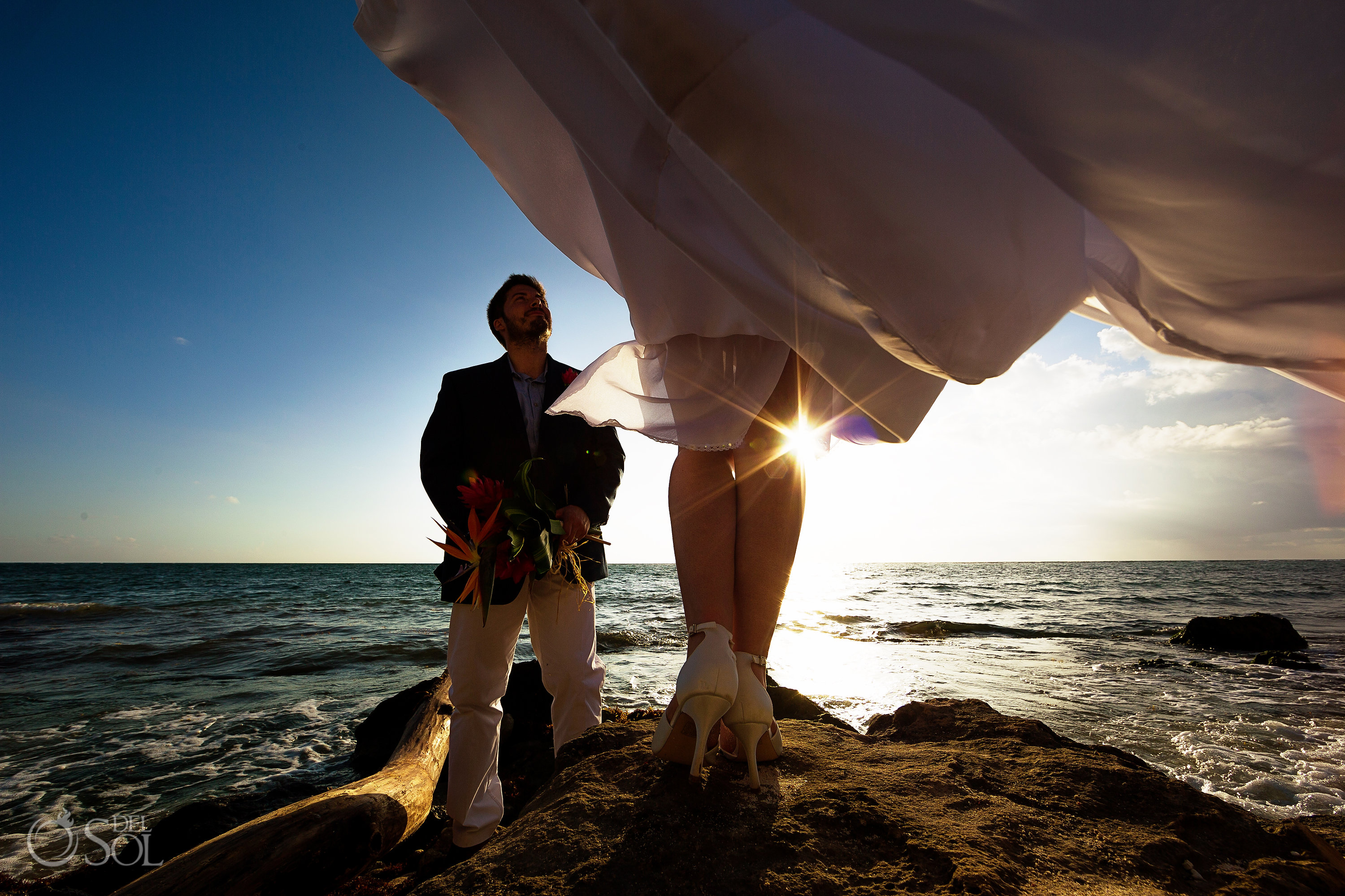 Aesthetically Pleasing Sunlight merging legs Passioned Newlyweds Vintage Bridal Shoes Akumal Bay Elopement
