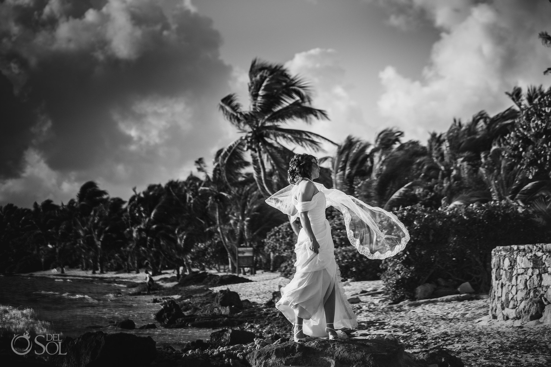 Vintage Tropical Wedding Style Black White Bridal Wind Portrait Akumal Sunrise Elopement