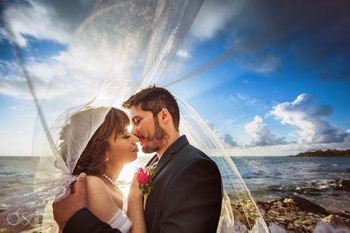 Sunrise Light Wedding Portrait Just Married Couple Love Tenderness Moment Akumal Bay Elopement