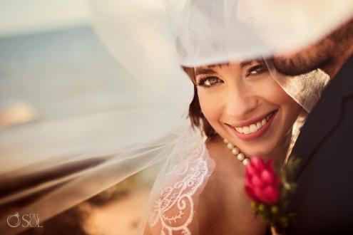 Beautiful Vintage Bride Natural Makeup Long Lashes Style Akumal Sunrise Villa Elopement