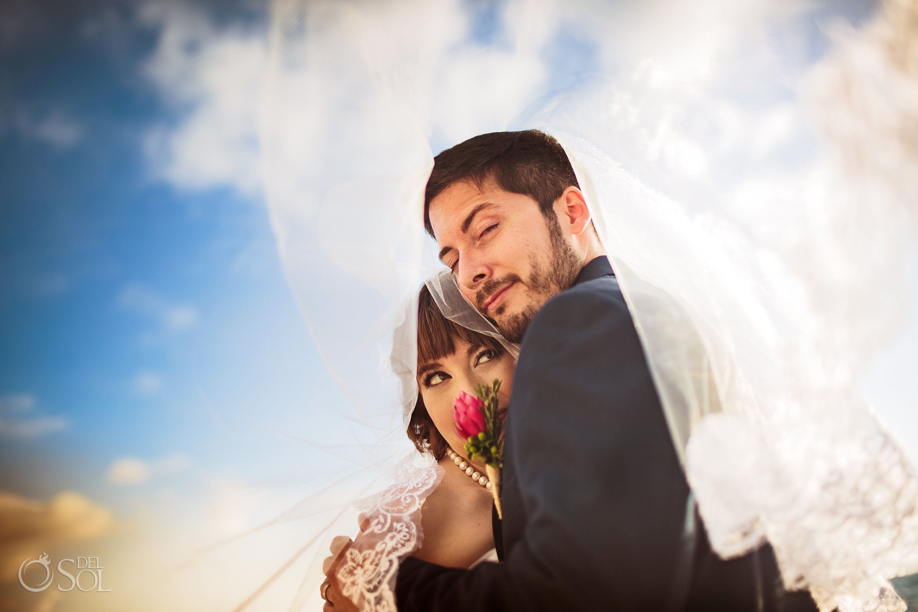 Romantic in love just married Couple Akumal Bay Elopement