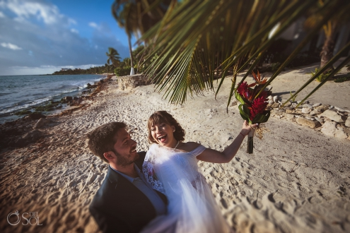 Happy Just Married Couple Tropical Bouquet Akumal Bay Wedding