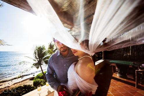Sunrise flirt Newlyweds Couple Embroidery Long Tule Veil Akumal Villa Private Beach Front Elopement