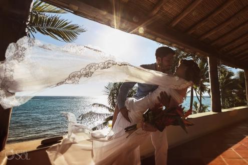 Passioned Windy Veil Newlyweds Akumal Beach Front Sunrise Villa Elopement