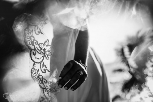 Black Withe Bridal Details Wedding Ring Embroidery Tule Veil Akumal Private Villa Wedding