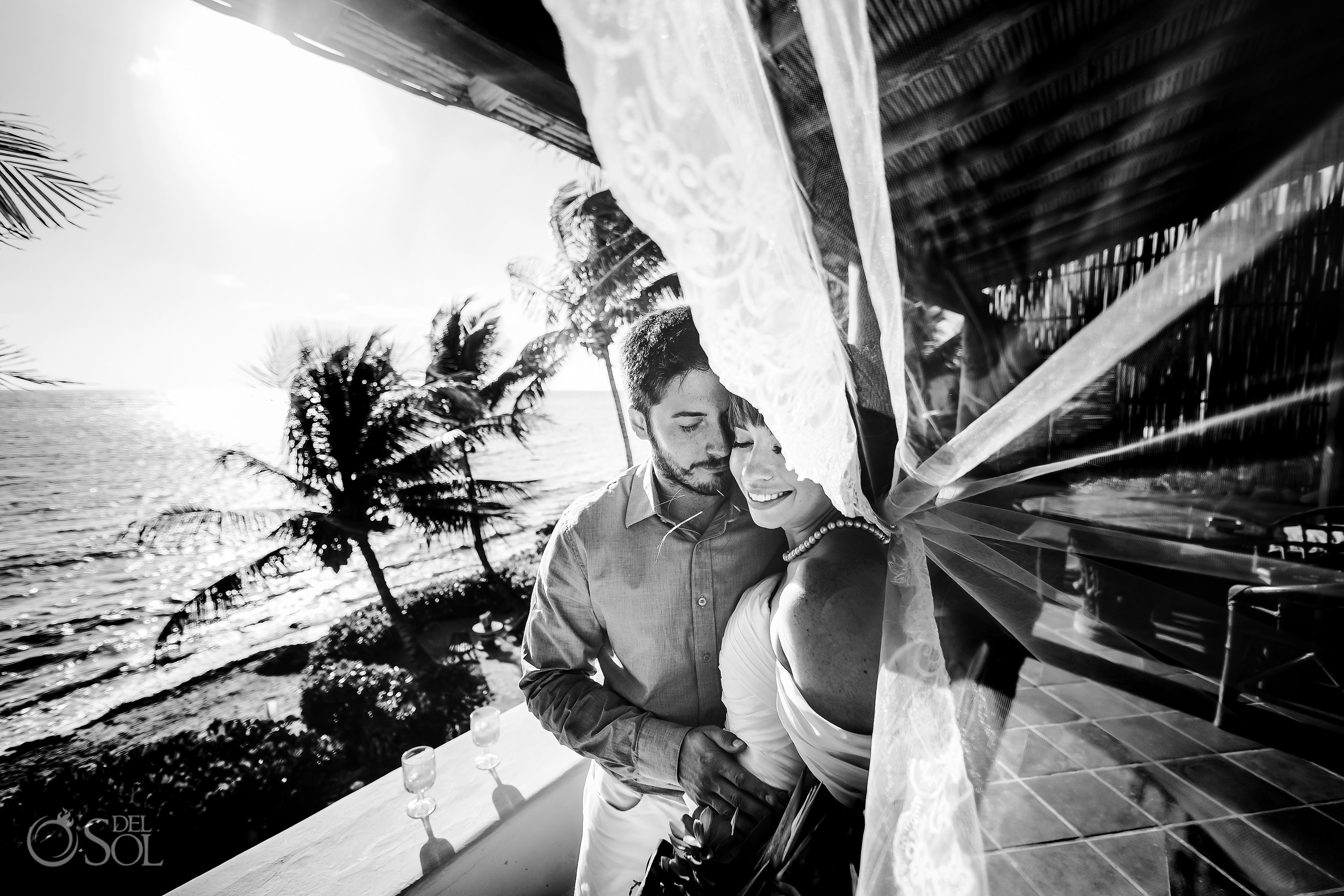 Black White Newlyweds Couple Embroidery Long Tule Veil Akumal Villa Private Beach Front Elopement