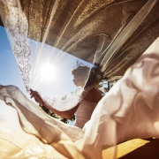 Wind Magical Wedding Dress Photography Long Embroidery tule Veil Sunrise reflection. Akumal private Villa Elopement