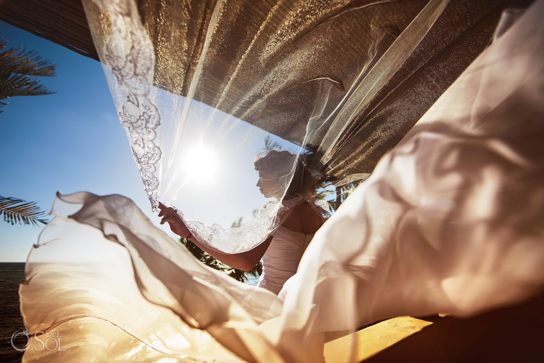 Wind Magical Wedding Dress Photography Long Embroidery tule Veil Sunrise reflection. Akumal private Villa Elopement