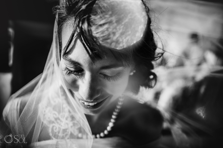 Magic Black White Bride Portrait Long lashes Bride Akumal Elopement