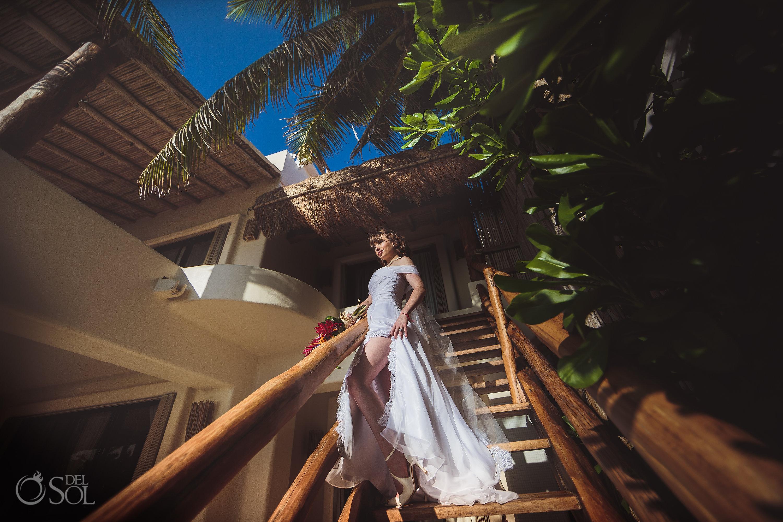 Sexy Vintage Bride Akumal Sunrise Villa Elopement