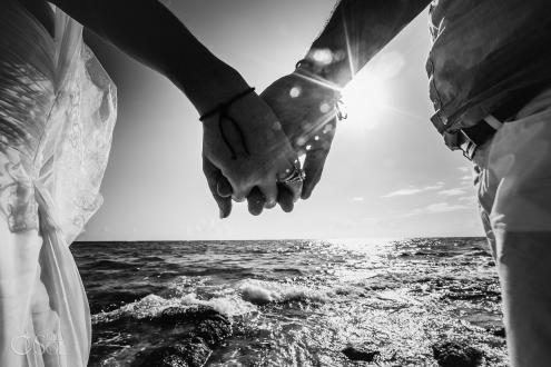 Black White Holding Hands Sun flirt Akumal Elopement