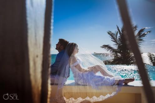 Long Embroidery Bridal Veil Infinity Pool Trash The Dress Portrait Akumal Sunrise Villa Elopement