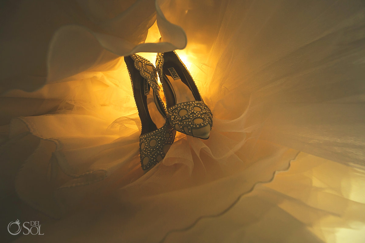Badgley Mischka Bridal heels detail photo Hyatt Ziva Cancun Wedding