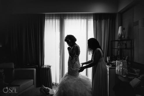 Bride getting ready silhouette Cancun wedding