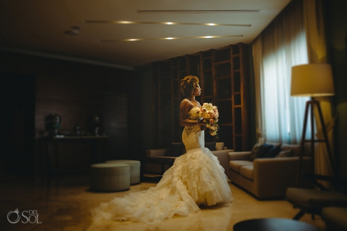 bridal portrait Afro bride wearing Eve of Milady wedding dress Hyatt Ziva Cancun