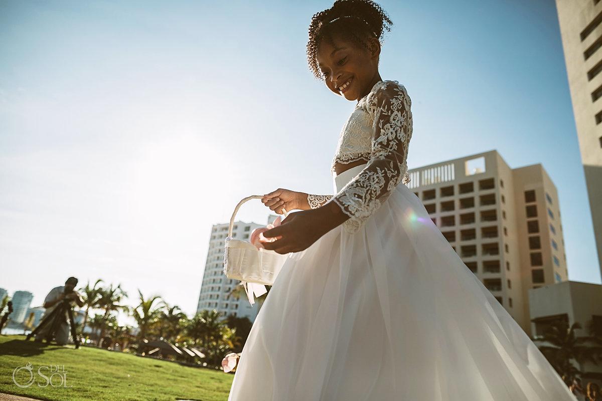 flower girl black wedding Cancun Hyatt Ziva