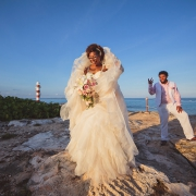 Cancun destination black wedding bride and groom portrait Hyatt Ziva