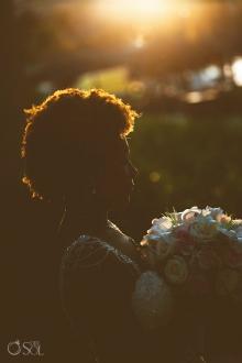 afro woman sunset wedding portrait