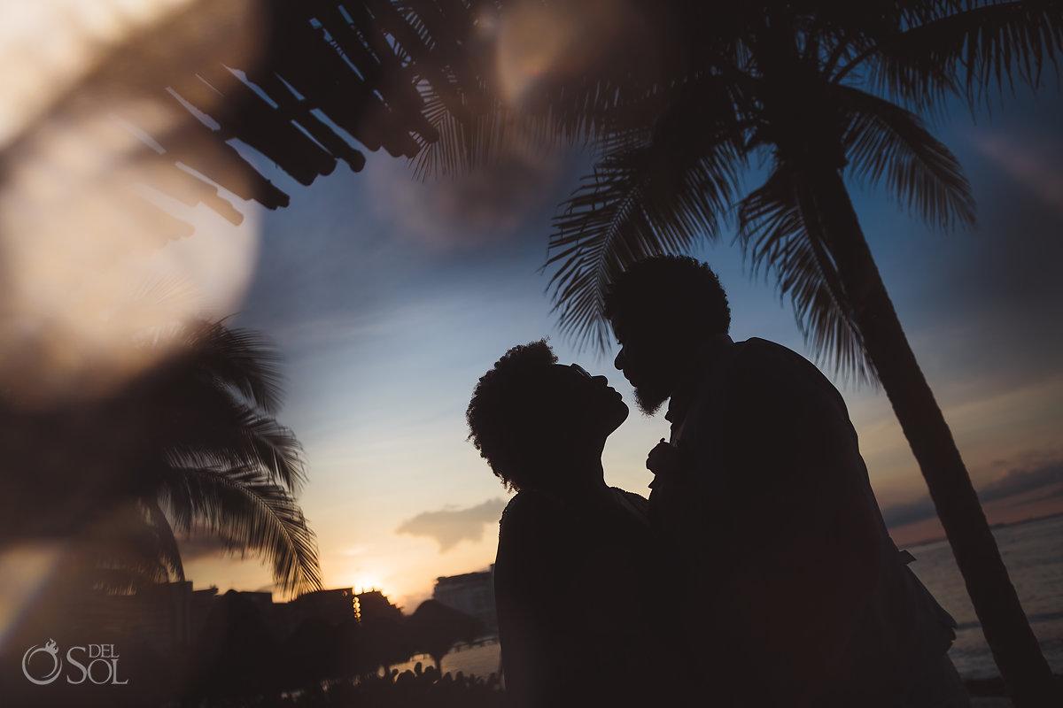 black couple destination wedding silhouette portraits