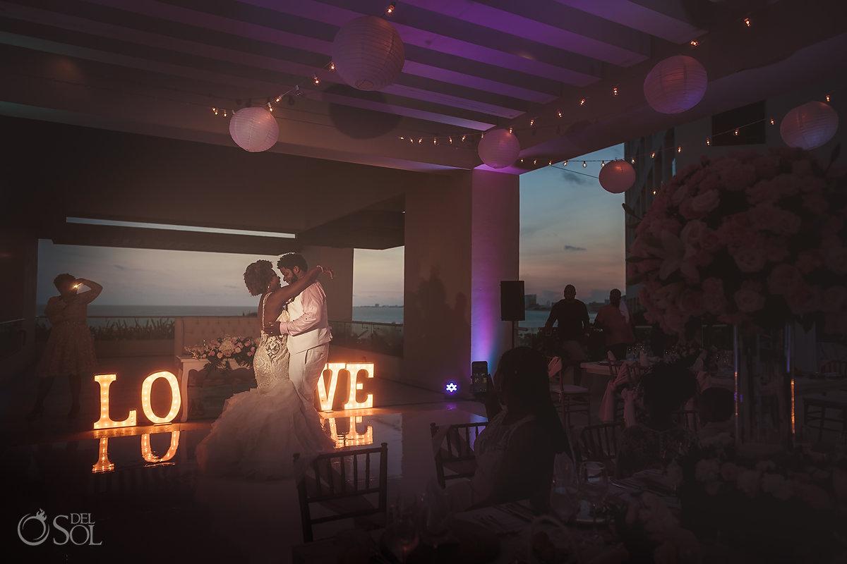 Hyatt Ziva Cancun sky terrace wedding reception