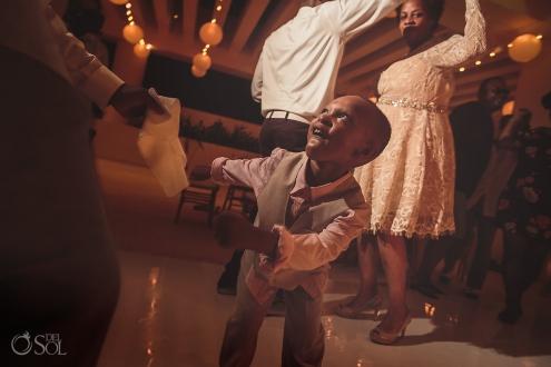 party dancing boy wedding reception Hyatt Ziva Cancun
