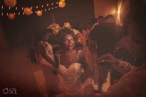 Bride dancing wedding reception moments Sky terrace Hyatt Ziva Cancun