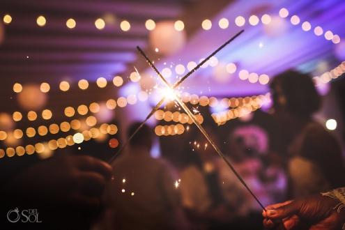 Wedding sparklers Sky terrace reception Hyatt Ziva Cancun