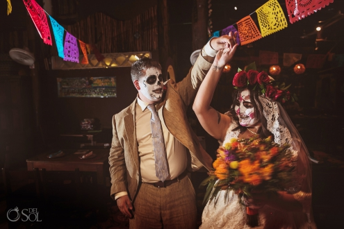 Day of the Dead Wedding newlyweds day of the dead wedding colorful Mexican bar playa del carmen