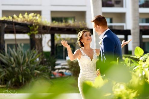 Emotional happy Groom Bride First Look Secrets Silversands Cancun Wedding Destination