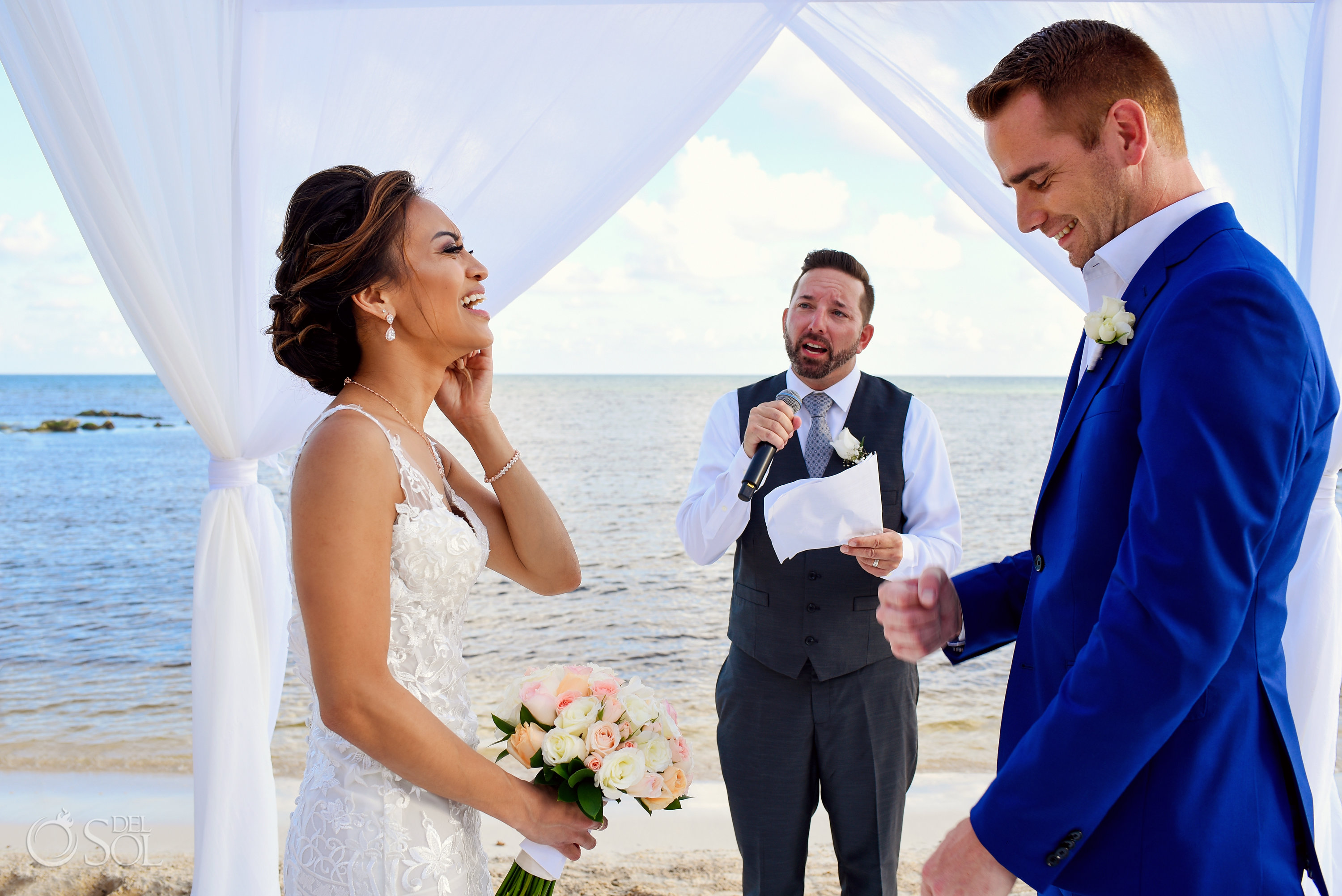 Funny Officiant Speech Romantic Beach Front Wedding Decoration Ceremony Estee Couture Bridal Dress Indochino Groom Suit