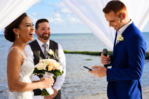 Happy funny Ginger Groom Vows Indochino wedding deep blue suit Beach front Ceremony