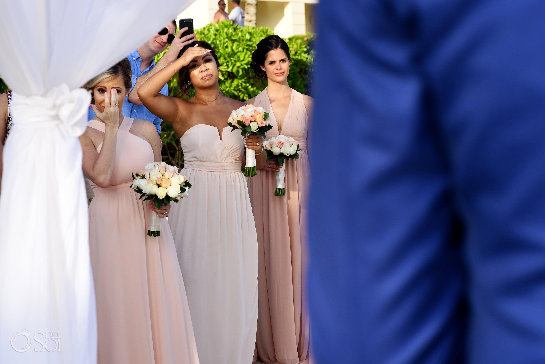 Pink Bridal Party Dresses Emotional Wedding ceremony moment Secrets Silversands Beach front Decoration